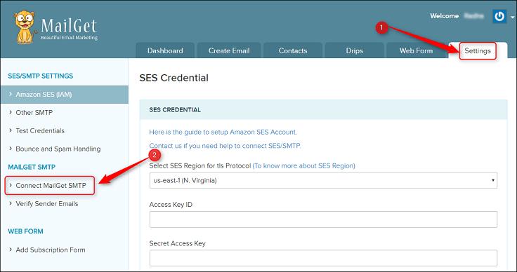 Mailget SMTP service dashboard