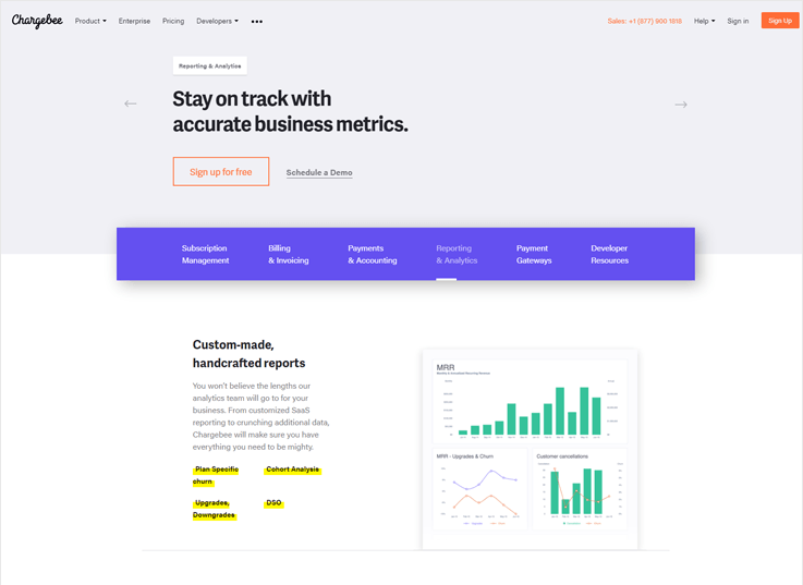 Chargebee - Cheapest Payment Analytics Software For Small Businesses