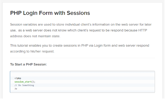 PHP Login Form With Sessions