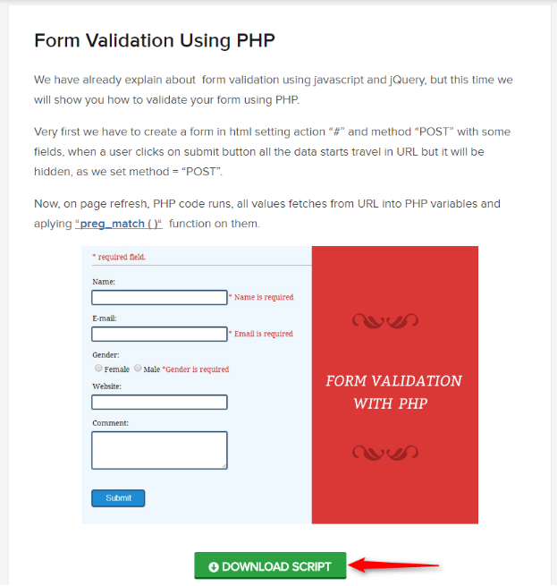 Form Validation Using PHP