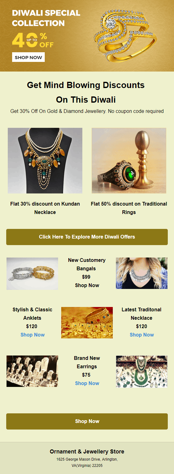 Diwali Email Templates for Jewellery