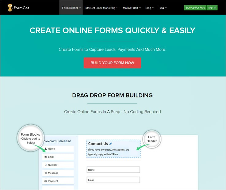FormGet Tools To Create Forms