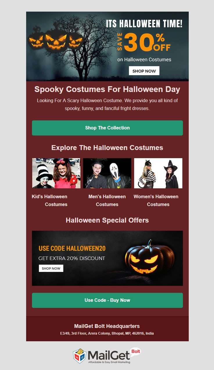 free halloween email template