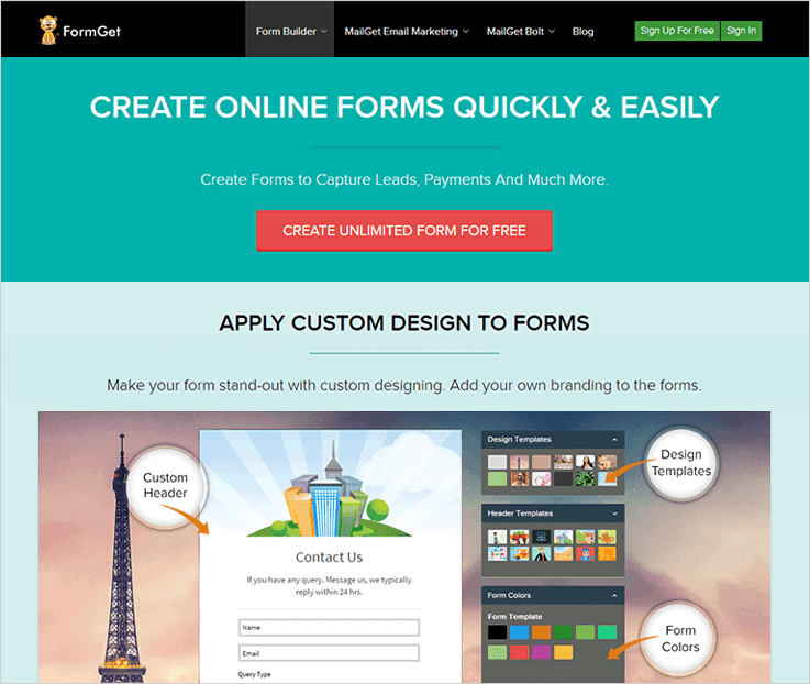 FormGet Online Form Builder Software