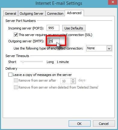 "Click on ""Outgoing server (SMTP)"""