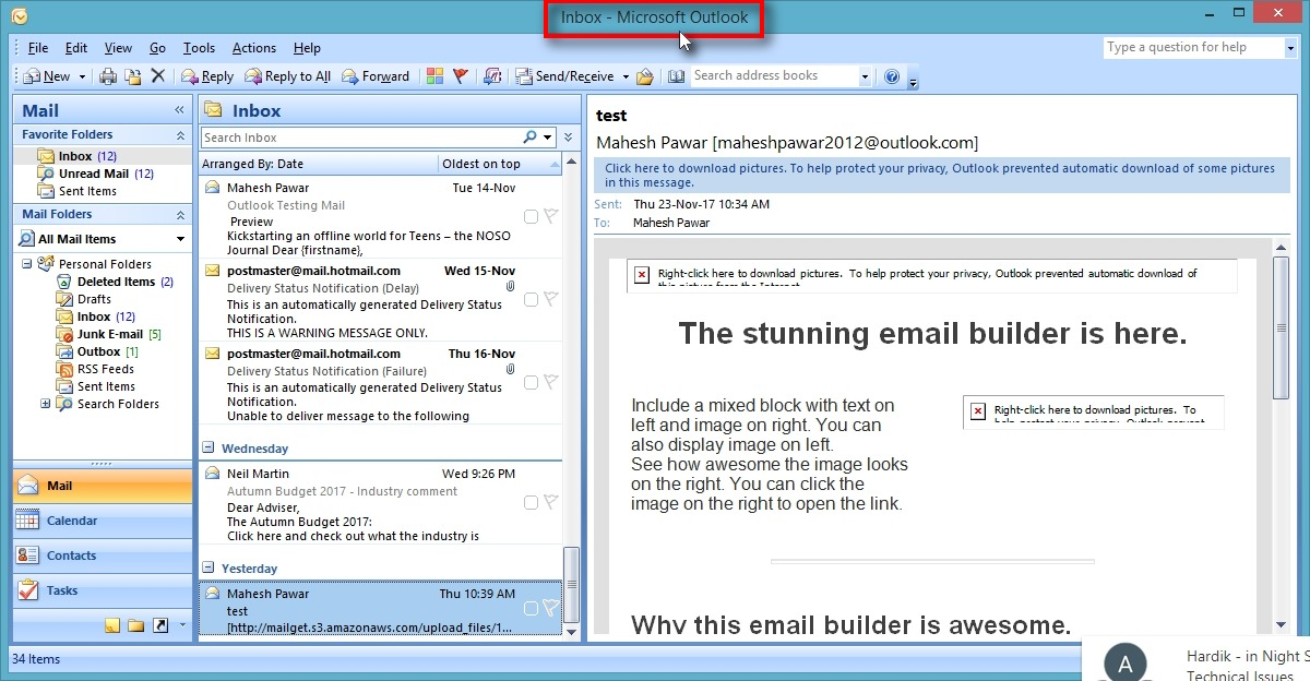 Outlook SMTP settings - User Dashboard