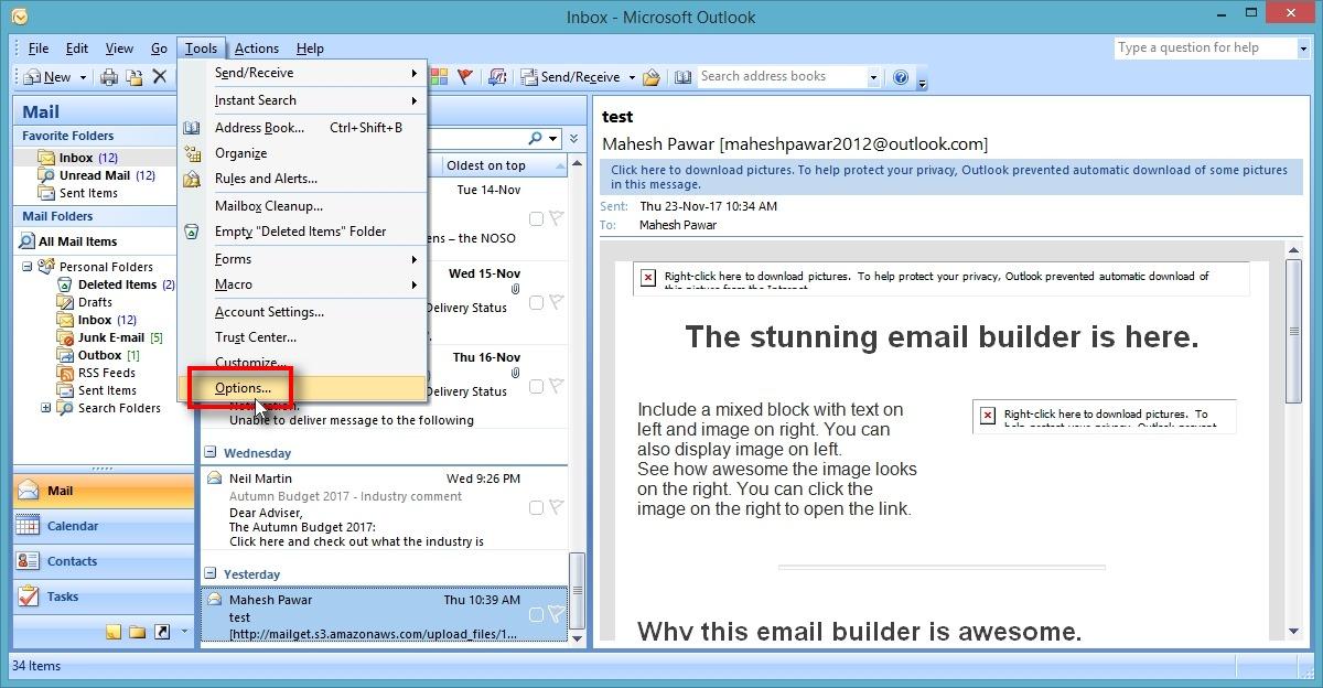 Outlook SMTP settings - Options