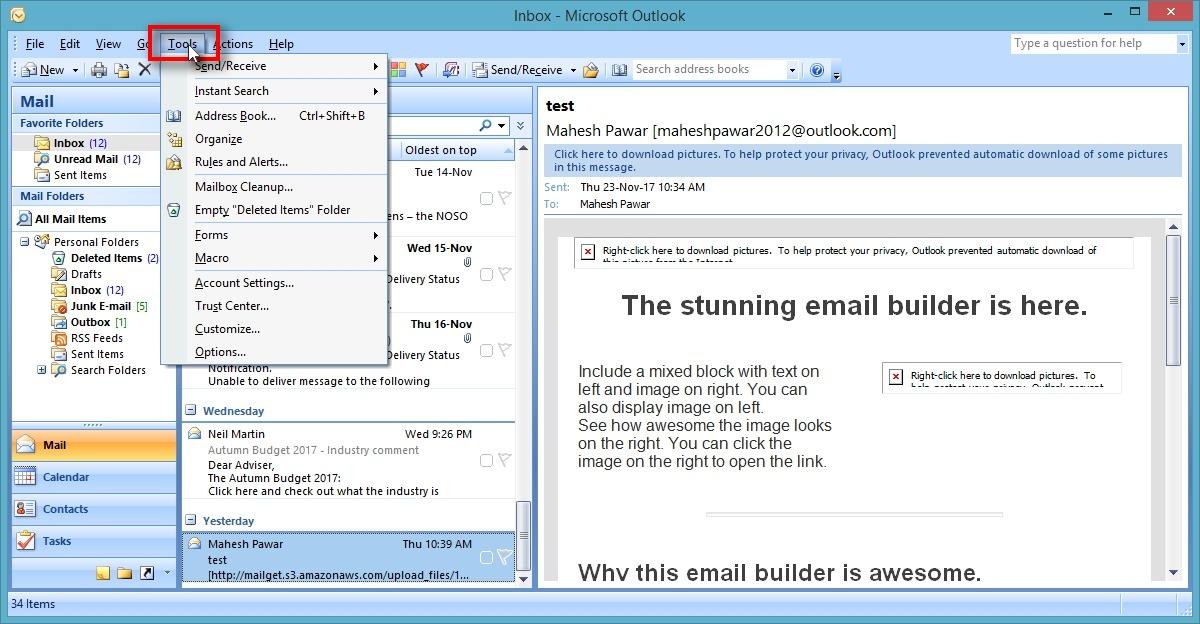 Outlook SMTP settings - Tools
