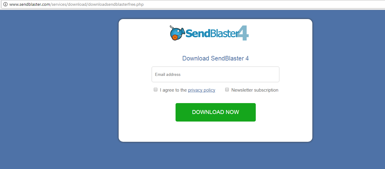 SendBlaster 4 Download window