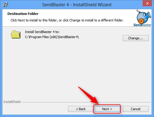 Select destination folder