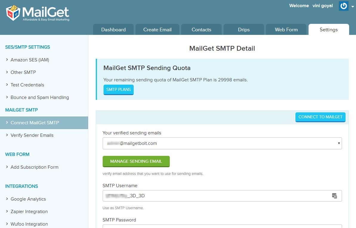 MailGet SMTP credentials