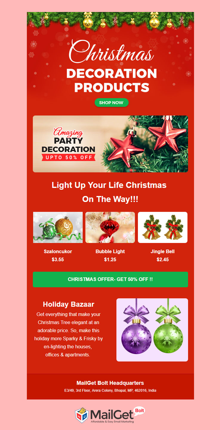 Decoration Free Christmas Email Templates