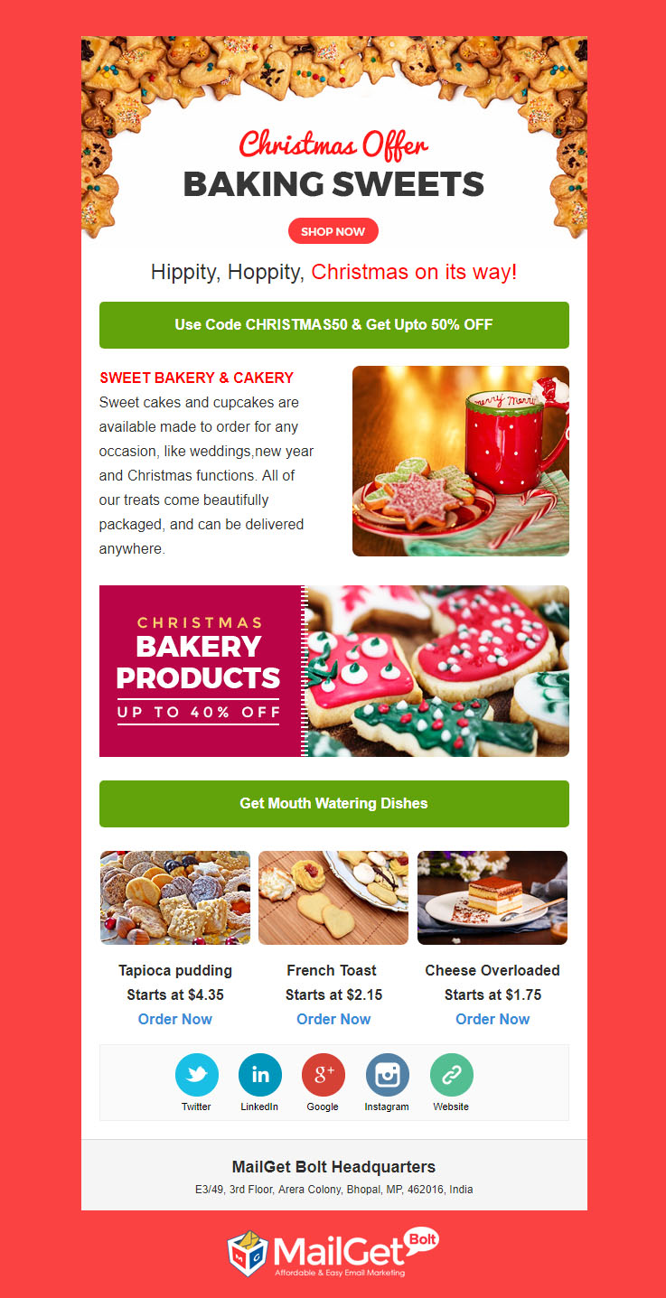 Food Free Christmas Email Templates
