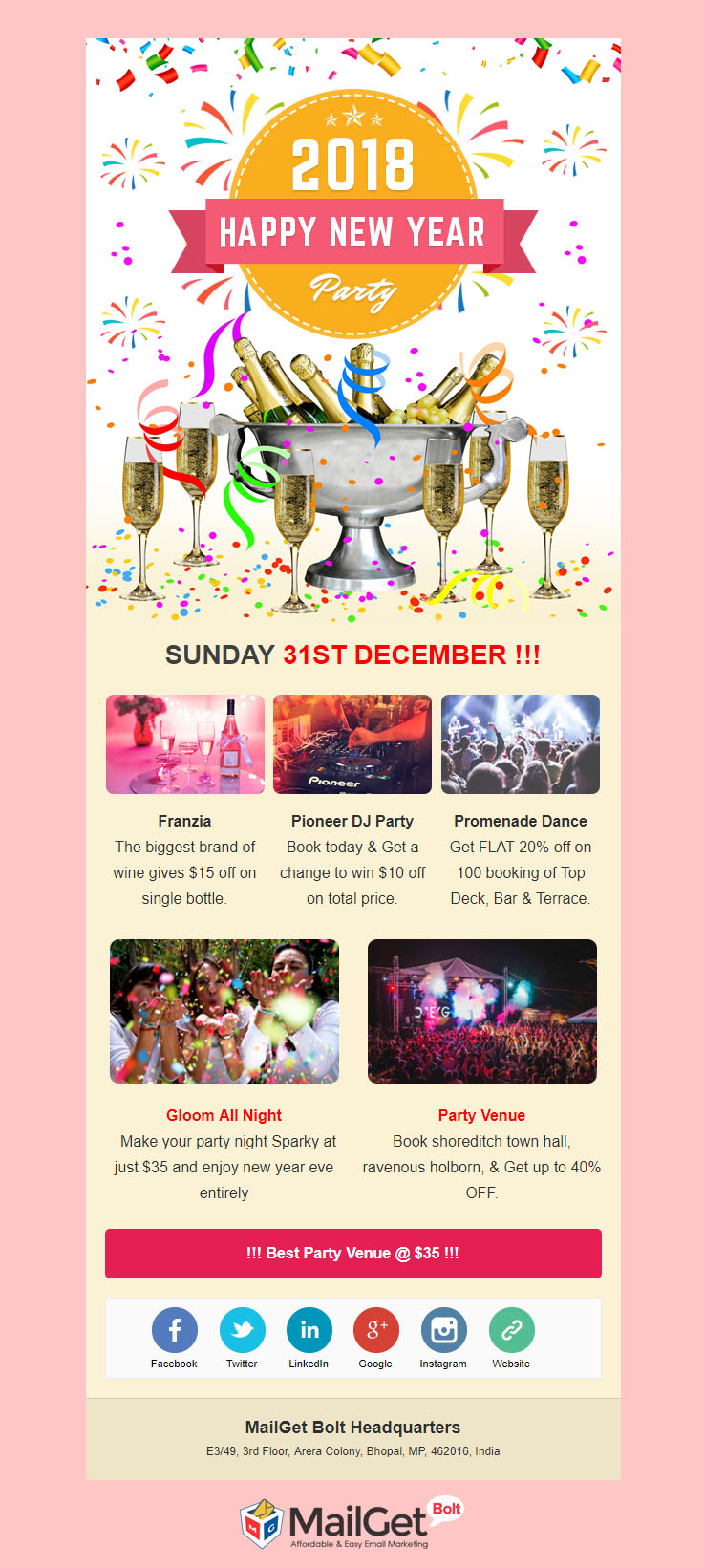 party new year email template
