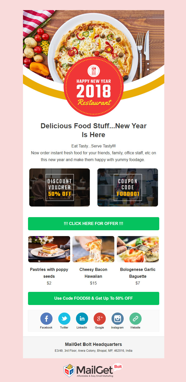 restaurant new year email template