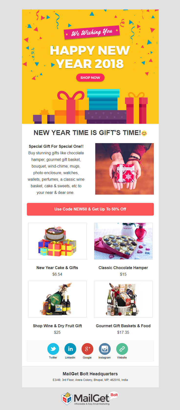 gift new year email template