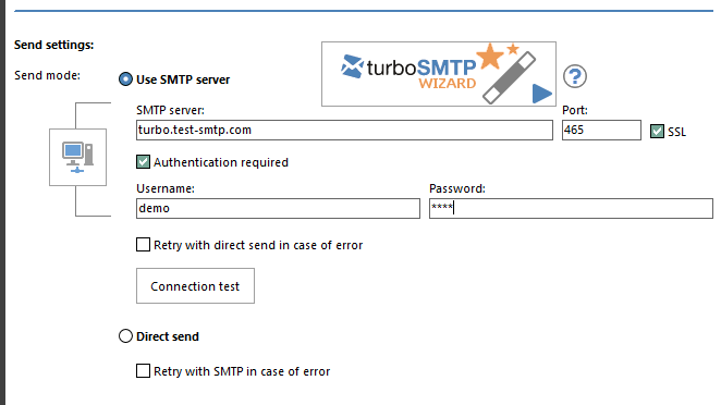 SMTP settings section
