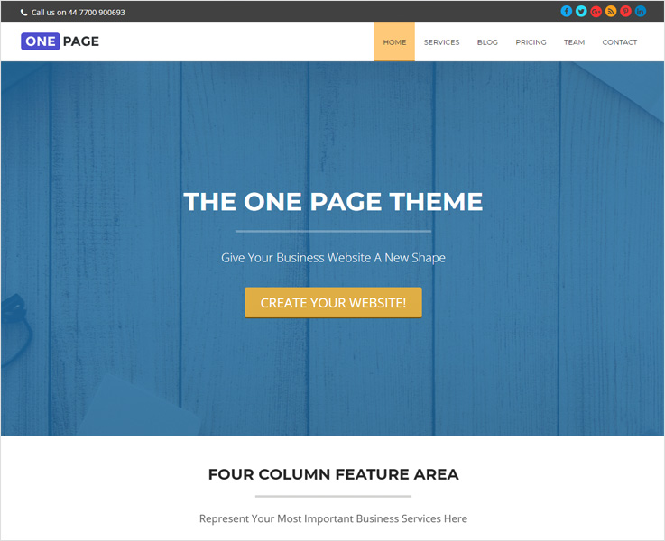 one page best free WordPress theme
