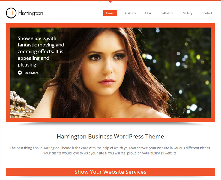 Harrington business WordPress theme