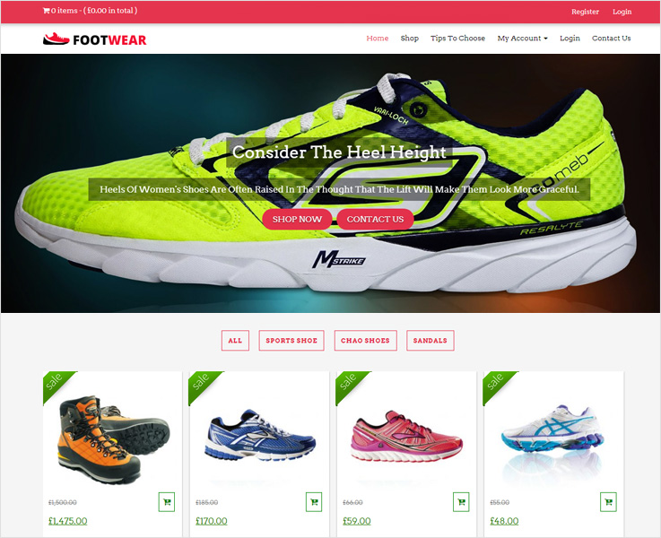 footwear wordPress theme