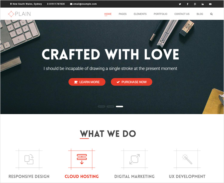 plain WordPress business theme