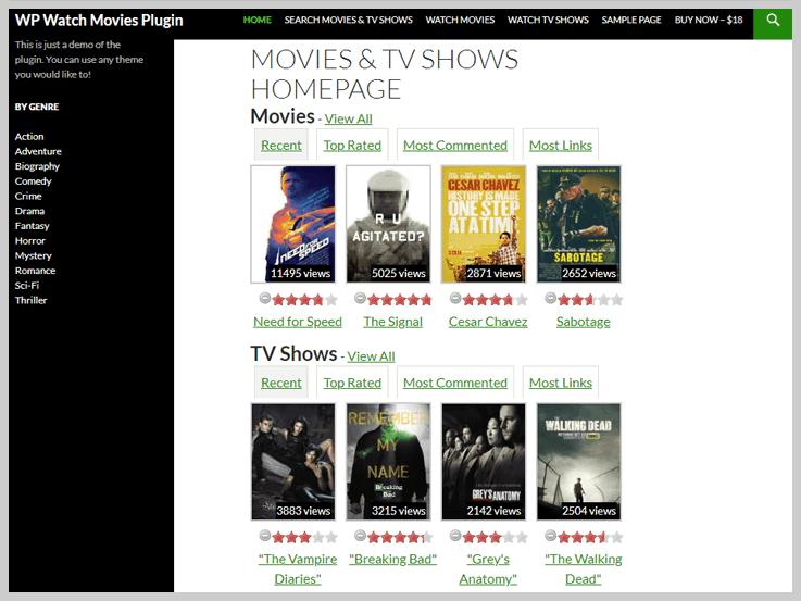 WP Watch Movies & TV Shows Online - WordPress Plugins Movie Database