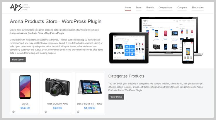 Arena Products Store - Catalog WordPress Plugins