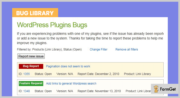 Bug Library Bug Tracker WordPress Plugins