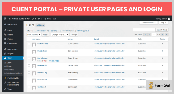 Client Portal – Private user pages and login