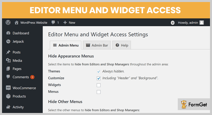 Editor Menu and Widget Access