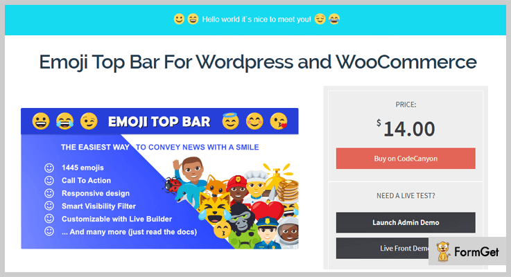 Emoji Top Bar For WordPress and WooCommerce