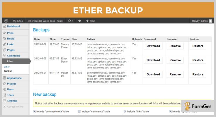 Ether Backup WordPress Plugin