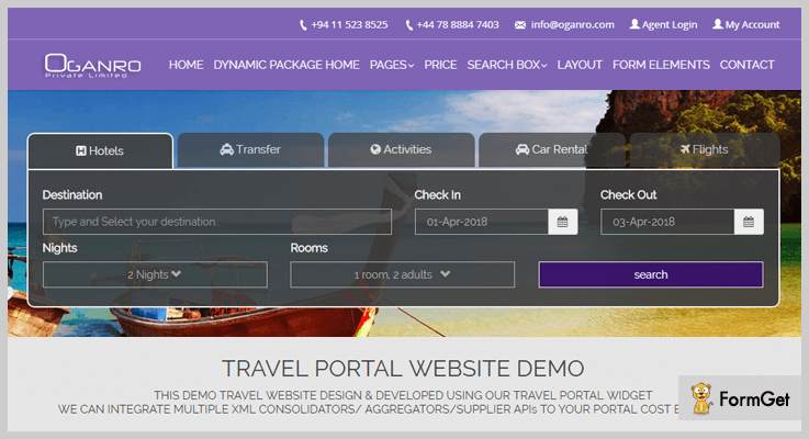 Oganro Travel Agency WordPress Plugin