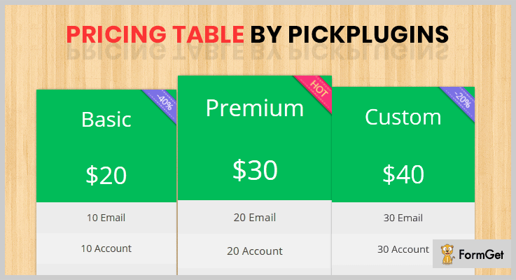 Pricing Table by PickPlugins
