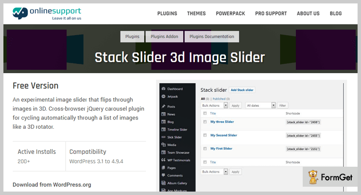 Stack 3D Slider WordPress plugins
