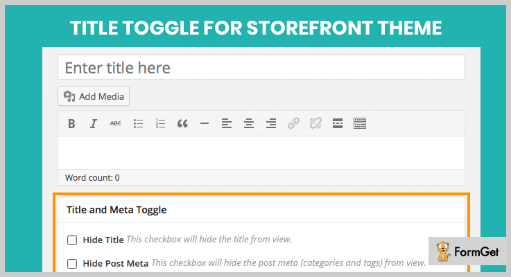 Title Toggle for Storefront Theme