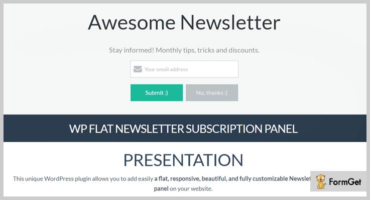 WP Flat Newsletter Subscription Panel