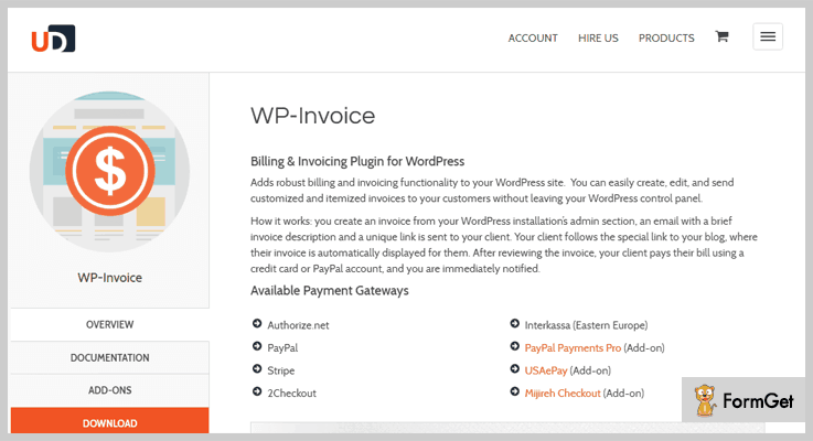 Invoice WordPress Plugins Free And Paid FormGet - Free invoice website