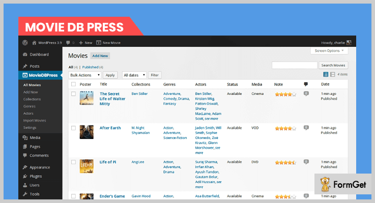 WordPress Plugin Movie Database