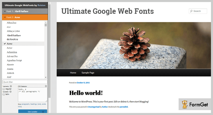 Google Fonts WordPress Plugin