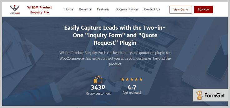 WISDM Product Enquiry Pro WordPress Plugin