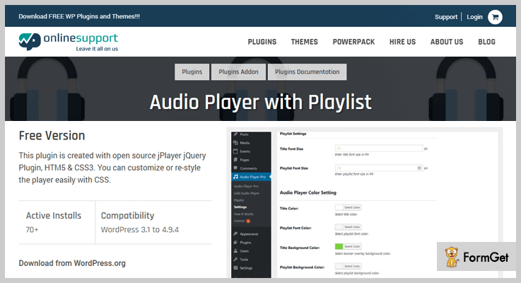 audio player with playlist