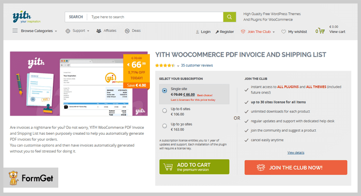 Invoice WordPress Plugins Free And Paid FormGet - Invoice generator plugin for wordpress