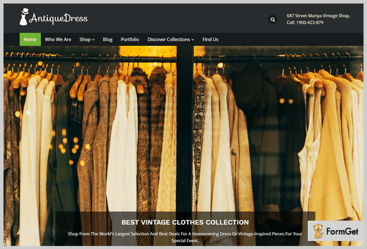 AntiqueDress WordPress Theme For Clothing Store