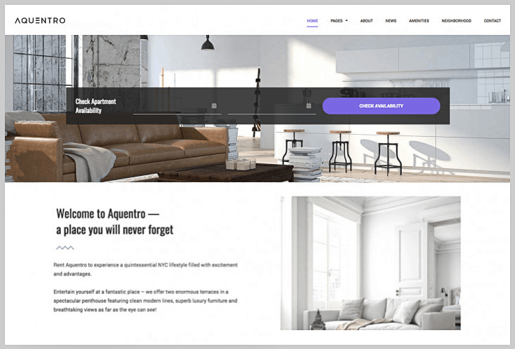 Aquentro - Vacation Rental WordPress Themes