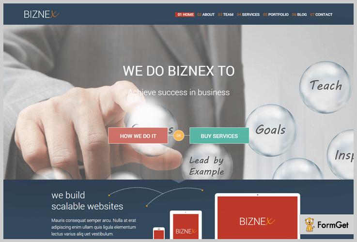 Biznex HTML WordPress Theme