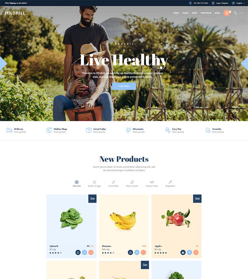 Midhill Bid Grocery Store WordPress Theme