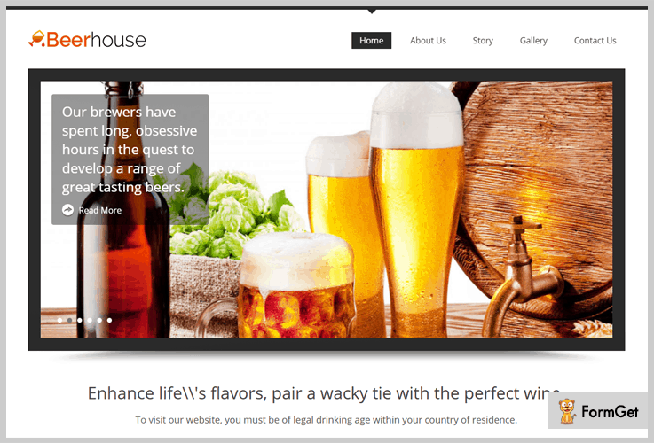 Beer House Brewery WordPress Theme