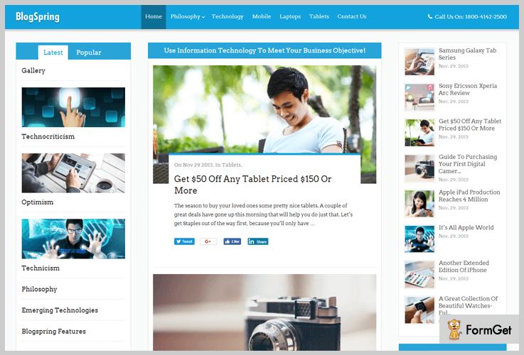 BlogSpring Three Column WordPress Theme