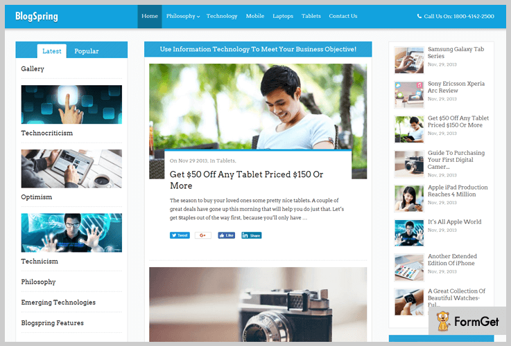 BlogSpring Blogger WordPress Theme